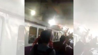 मुंबई में टला बड़ा हादसा, वाशी स्टेशन पर लोकल ट्रेन में लगी आग-मची अफरा-तफरी