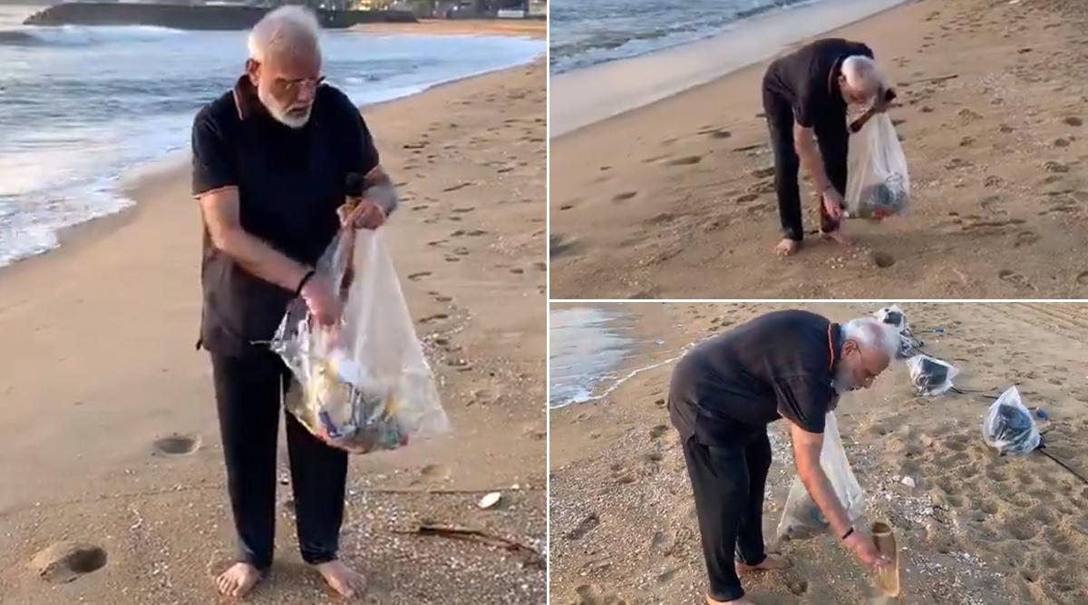 मामल्लापुरम समुद्र तट पर प्लॉगिंग करते वक्त पीएम नरेंद्र मोदी के हाथ में था एक्यूप्रेशर रोलर