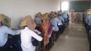 कर्नाटक: कॉलेज ने नकल रोकने के लिए अपनाया अजीबोगरीब तरीका, बॉक्स पहनाकर छात्रों से दिलवाया एग्जाम