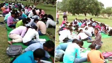 बिहार: नीतीश सरकार की शिक्षा व्यवस्था की खुली पोल, बेतिया में खुले में परीक्षा देते नजर आए स्टूडेंट्स