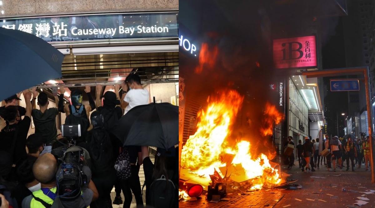 हांगकांग में व्यापक हिंसा और तोड़फोड़ के बाद मेट्रो, बैंक सहित शॉपिंग सेंटर किए गए बंद, भीड़ को काबू करने के लिए छोड़े गए आंसू गैस