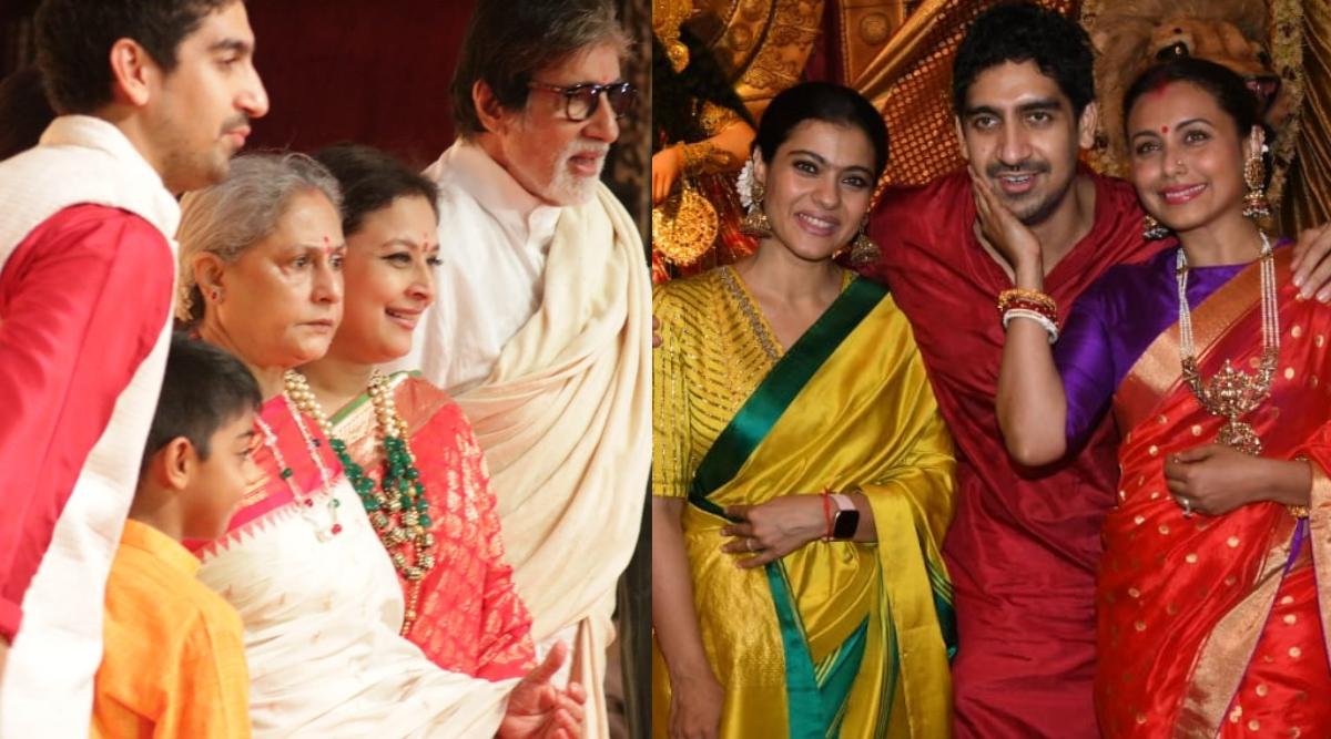 महाअष्टमी के दौरान मां दुर्गा के पंडाल में पत्नी जया संग पहुंचे अमिताभ बच्चन, काजोल और रानी मुखर्जी भी साथ आई नजर