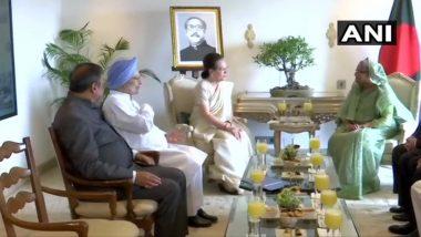 पूर्व प्रधानमंत्री मनमोहन सिंह और कांग्रेस अध्यक्ष सोनिया गांधी ने बांग्लादेशी प्रधानमंत्री शेख हसीना से की मुलाकात