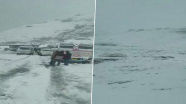हिमाचल प्रदेश में बर्फबारी, Keylong-Manali रूट की बसे ठप्प