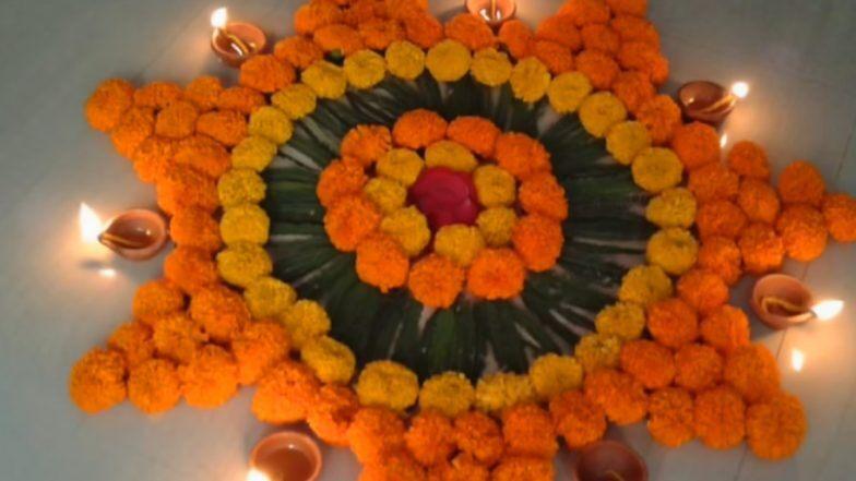 Diwali 2019 Rangoli Designs With Flowers: दीपावली के पावन अवसर पर फूलों वाली रंगोली से करें मां लक्ष्मी का स्वागत, देखें लेटेस्ट और आकर्षक रंगोली डिजाइन्स