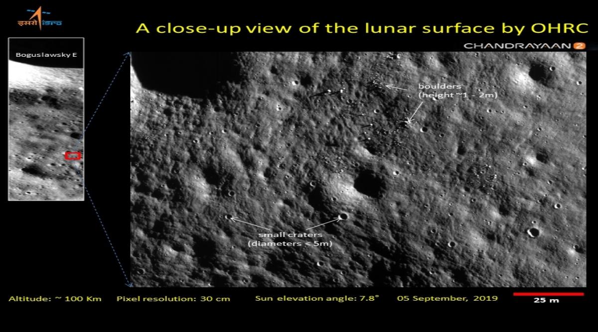 चंद्रयान-2: भारतीय अंतरिक्ष अनुसंधान संगठन ने 'ओआरएचसी' द्वारा ली गईं चंद्रमा सतह की तस्वीरें कीं जारी