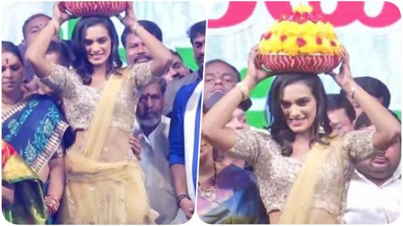 बैडमिंटन स्टार पी वी सिंधु ने हैदराबाद में मनाए जाने वाले त्योहार 'बाथुकम्मा संबारालु' में की शिरकत, देखिए वीडियो