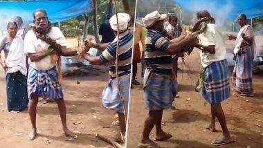 केरल के तिरुअनंतपुरम में  शख्स के गर्दन में जकड़ा अजगर, लोगों की मदद से बची जान, देंखे वीडियो