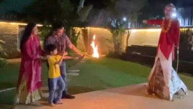 शिल्पा शेट्टी के घर भी मनाया गया दशहरा, पति राज कुंद्रा और बेटे वियान ने किया रावण दहन