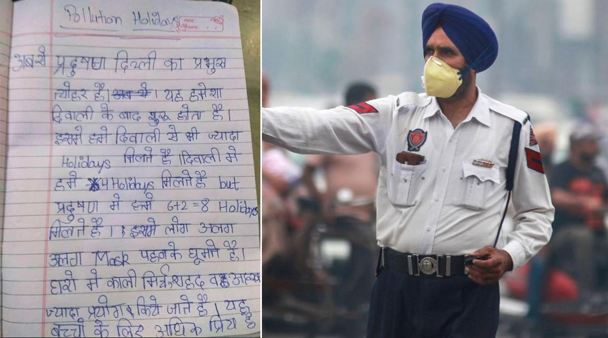 दिल्ली: एयर पॉल्यूशन पर बच्चे का लिखा निबंध सोशल मीडिया पर वायरल, देखें तस्वीरें