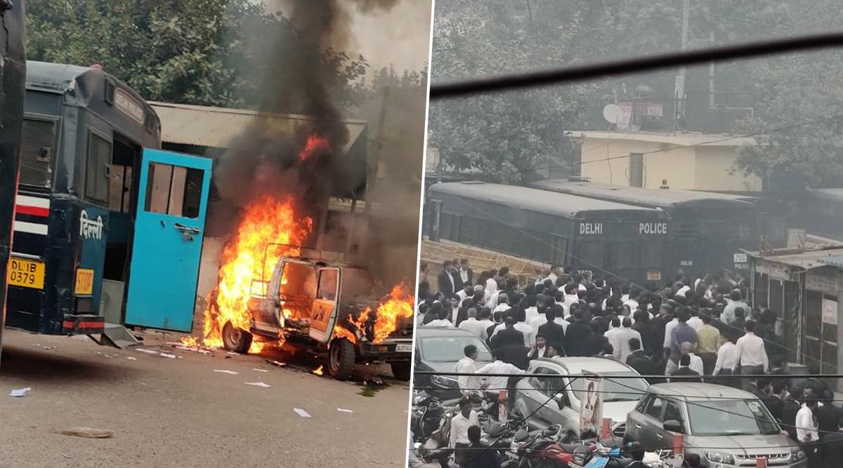 दिल्ली: तीस हजारी कोर्ट में वकीलों और पुलिस के बीच हिंसक झड़प, फायरिंग के बाद गाड़ियों में लगाई आग