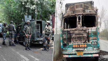 कश्मीर में शांति देख बौखलाए आतंकी, दहशत फैलाने के लिए त्राल में ट्रक को लगाई आग