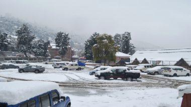 हिमाचल प्रदेश: शिमला-मनाली की पहाड़ियों पर बिछी बर्फ की चादर, तापमान 0.6 डिग्री सेल्सियस दर्ज