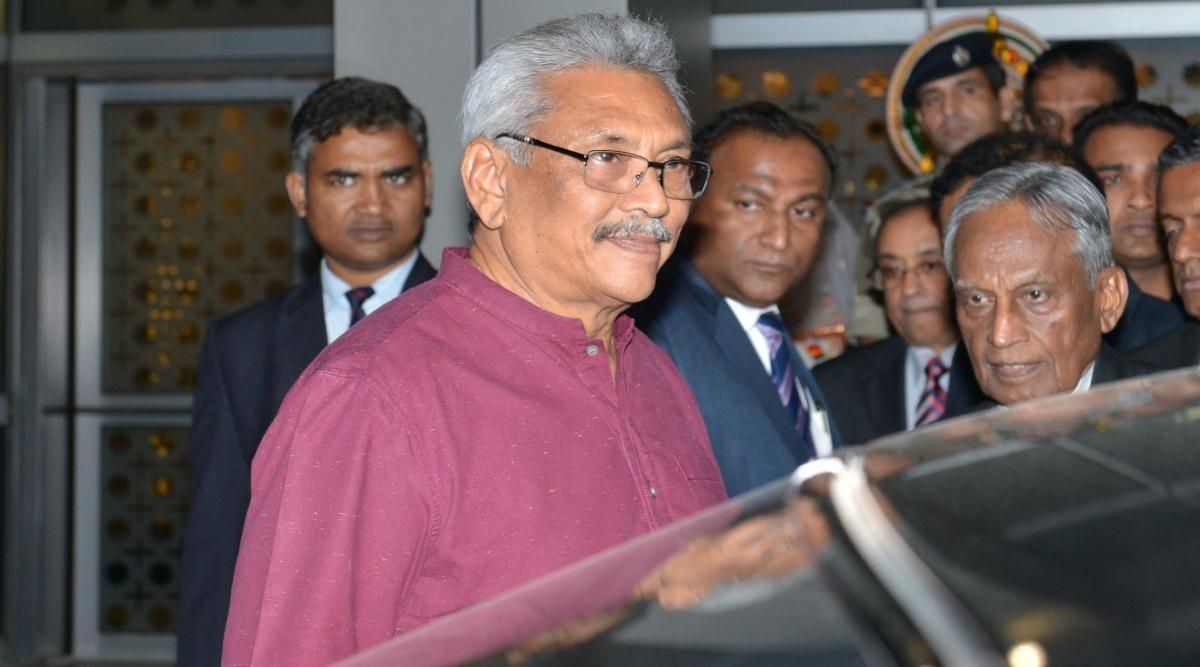 श्रीलंका के राष्ट्रपति गोटाबाया राजपक्षे का राष्ट्रपति भवन में रस्मी से किया गया स्वागत