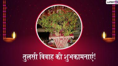 Tulsi Vivah 2019 Messages: तुलसी विवाह के शुभ अवसर पर ये हिंदी WhatsApp Stickers, Facebook Greetings, SMS, GIF Images, Wallpapers भेजकर अपने प्रियजनों को दें शुभकामनाएं