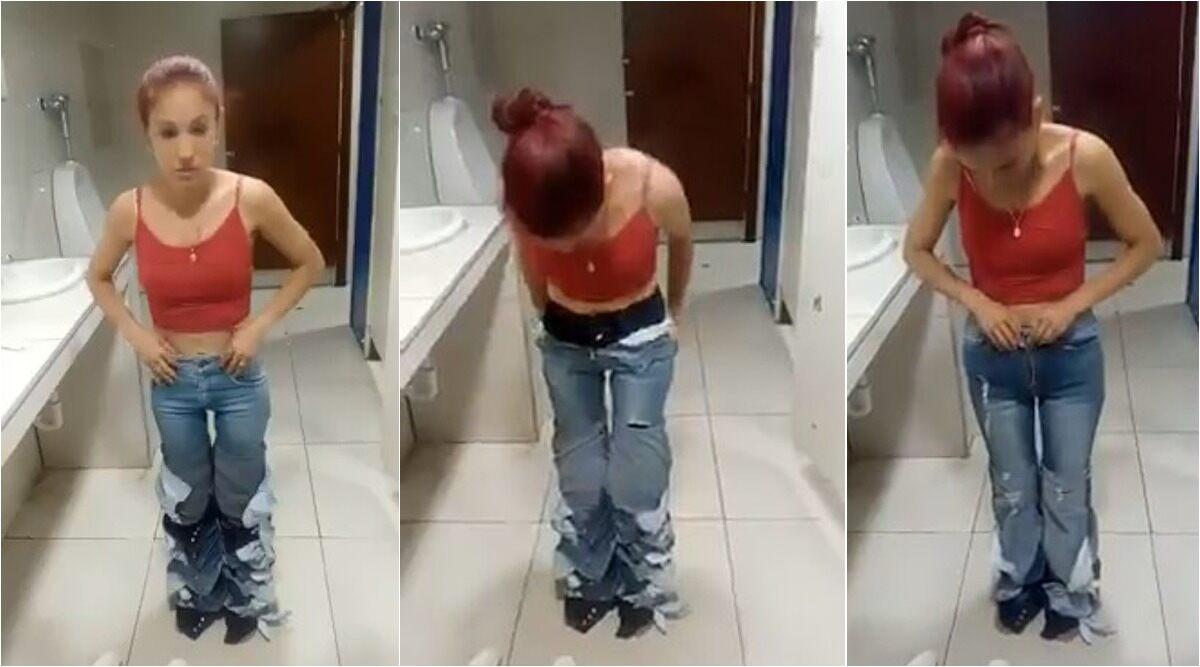 शातिर चोरनी ! एक साथ 8 जीन्स चुराने की कोशिश कर रही थी महिला, रंगे हाथों पकड़ी गई, देखें वीडियो