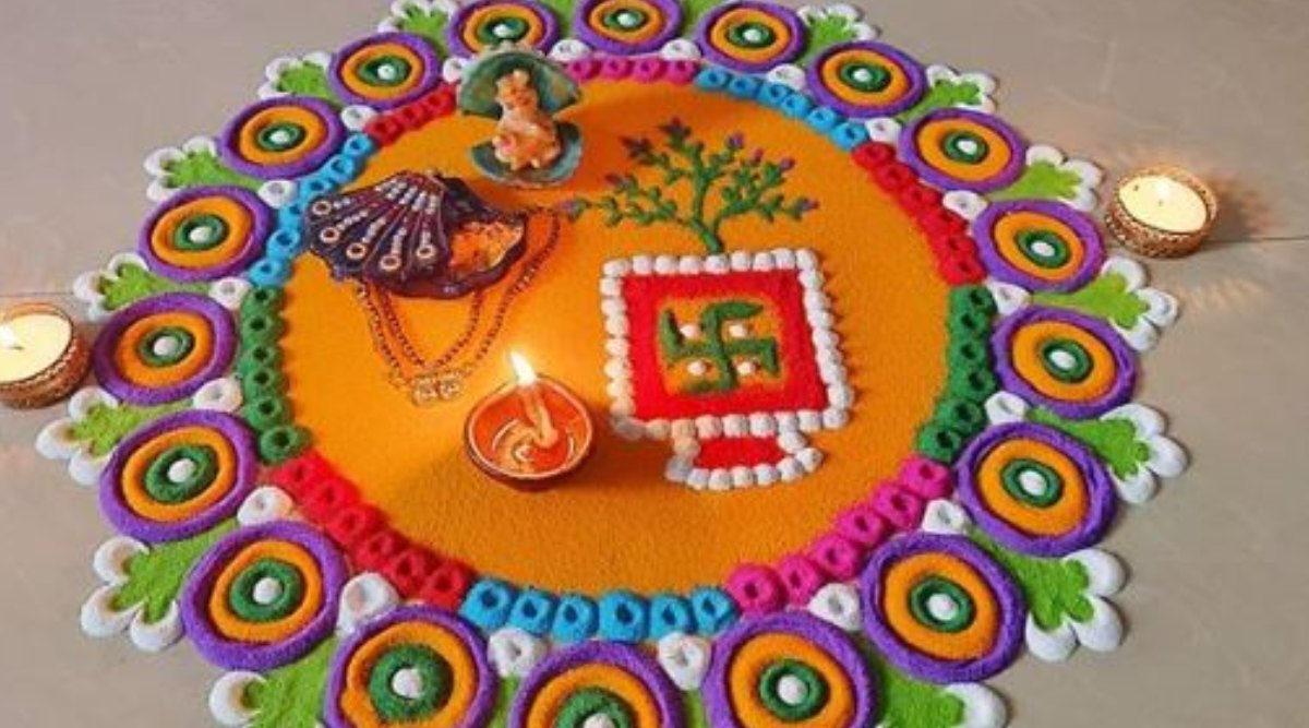 Simple and Beautiful Rangoli Designs for Tulsi Vivah