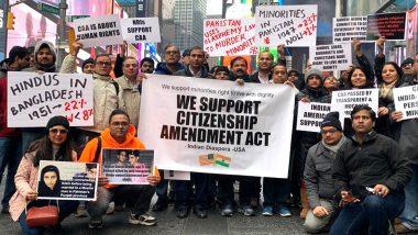 CAA Support Rally: नागरिकता कानून के समर्थन में अमेरिका की सड़कों पर उतरे लोग