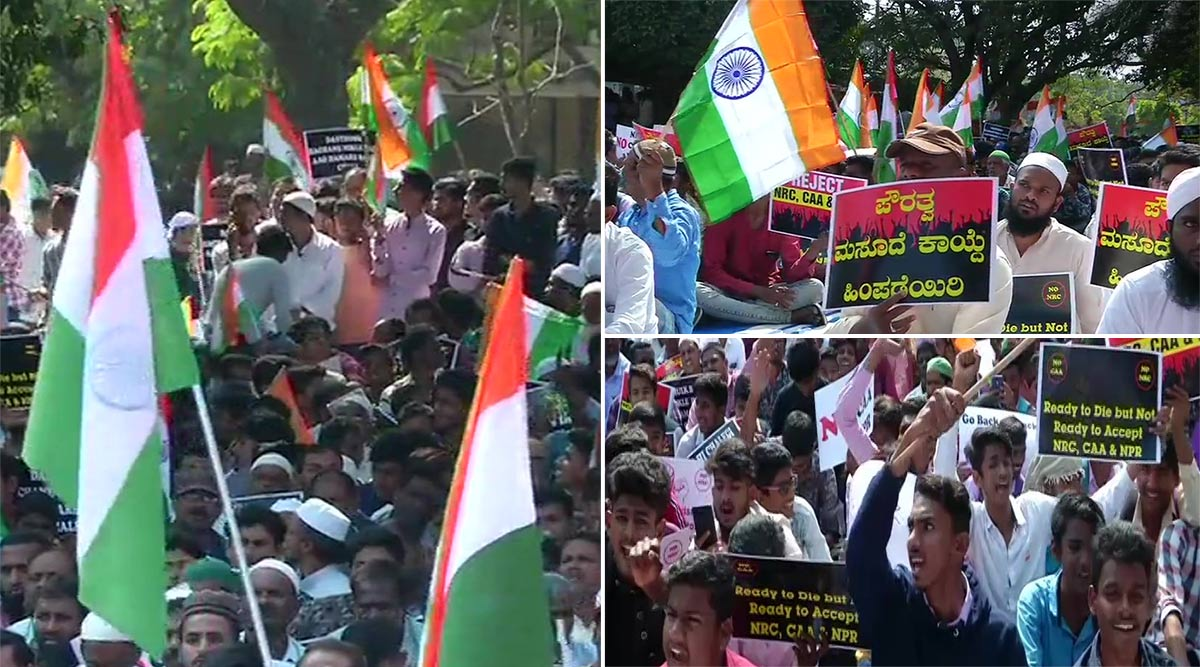 कर्नाटक में लोगों ने CAA, NRC और NPR को लेकर निकाला विरोध प्रदर्शन