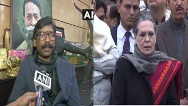 झारखंड: भावी मुख्यमंत्री हेमंत सोरेन ने कांग्रेस अध्यक्ष सोनिया गांधी से करेंगे मुलाकात, 29 दिसंबर के शपथ ग्रहण समारोह के लिए कर सकते है आमंत्रित