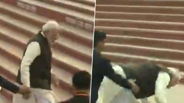 पीएम नरेंद्र मोदी कानपुर के गंगा घाट पर फिसलकर गिरे, वीडियो वायरल