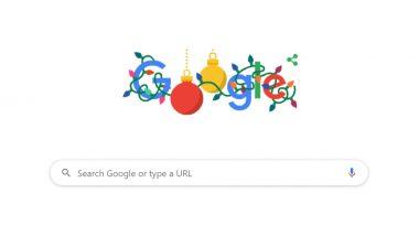 Google ने रंगीन झिल मिलाती लाइट्स से लिपटा हुआ एनिमेटेड Doodle बनाकर दी क्रिसमस की बधाई