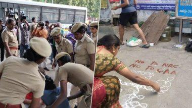 चेन्नई में CAA- NRC और NPR के विरोध में रंगोली, पुलिस ने 7 को लिया हिरासत में, कुछ समय बाद किया रिहा