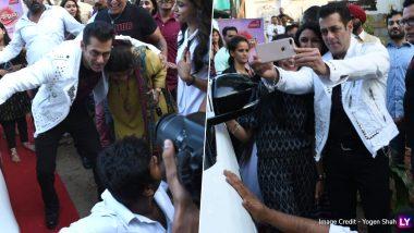 सलमान खान को 'बिग बॉस 2' मराठी के सेट पर फीमेल फैंस ने घेरा, आगे जो हुआ देखें इन Photos में !