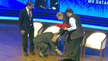 TIEcon Award Mumbai 2020: इन्फोसिस के को फाउंडर नारायण मूर्ति ने रतन टाटा का पैर छूकर लिया आशीर्वाद, देखें तस्वीरें