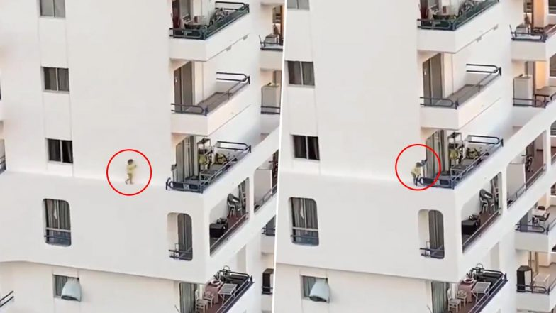 बिल्डिंग की खिड़की के बाहर एजेस पर चलती हुई दिखाई दी बच्ची, वीडियो देख हो जाएंगे हैरान