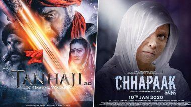 Tanhaji Vs Chhapaak Box Office Collection Day 1 Early Estimates: कमाई के मामले में अजय देवगन से काफी पीछे छूट गई दीपिका पादुकोण, जानिए दोनों फिल्मों ने कितने कमाए