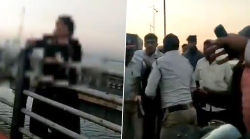 मुंबई: वाशी ब्रिज से कूदने वाली थी महिला, मुस्तैद पुलिसकर्मी ने ऐसे बचाया, देखें वीडियो