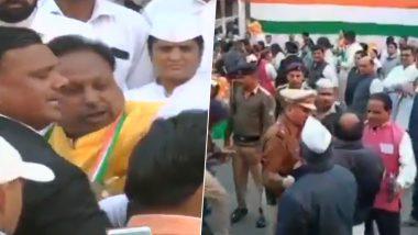 गणतंत्र दिवस पर झंडा फहराने से पहले दो दिग्गज कांग्रेसी नेताओं में हुई जमकर हाथापाई, देखें वीडियो