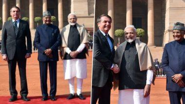 ब्राजील के प्रेसिडेंट जेयर मेसियस बोलसोनारो को गार्ड ऑफ ऑनर से किया गया सम्मानित, राष्ट्रपति रामनाथ कोविंद और पीएम मोदी ने किया स्वागत