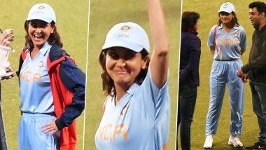 विराट कोहली के बाद क्रिकेट के मैदान में उतरी वाइफ अनुष्का शर्मा, टीम इंडिया की ब्लू जर्सी में Viral हुई ये Photos