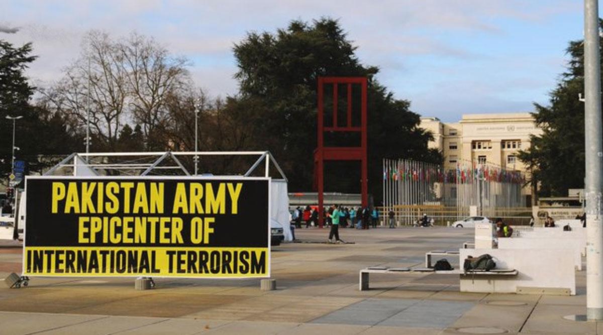 स्विट्जरलैंड के जिनेवा में लगा पाकिस्तानी सेना के खिलाफ बैनर- पाक आर्मी को बताया अंतरराष्ट्रीय आतंकवाद का केंद्र
