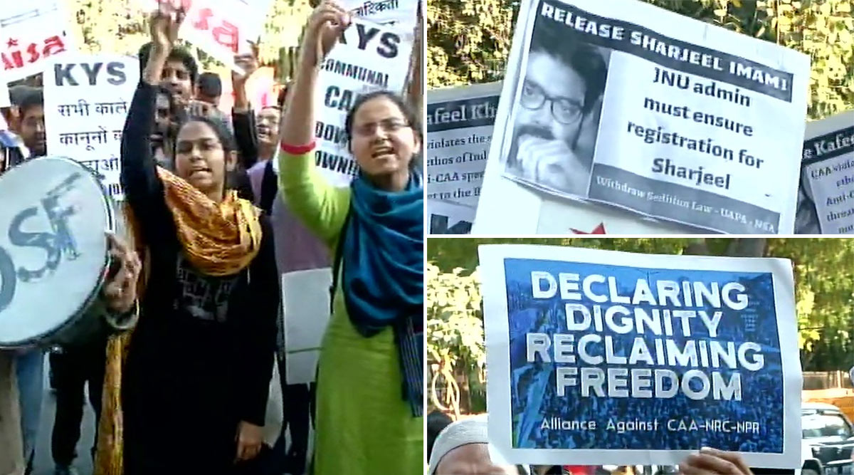 CAA-NRC और NPR के खिलाफ जंतर मंतर पर जेएनयू के छात्रों का विरोध प्रदर्शन, आइशी घोष सहित सभी नेलगाए शरजील इमाम को छोड़ने के नारे