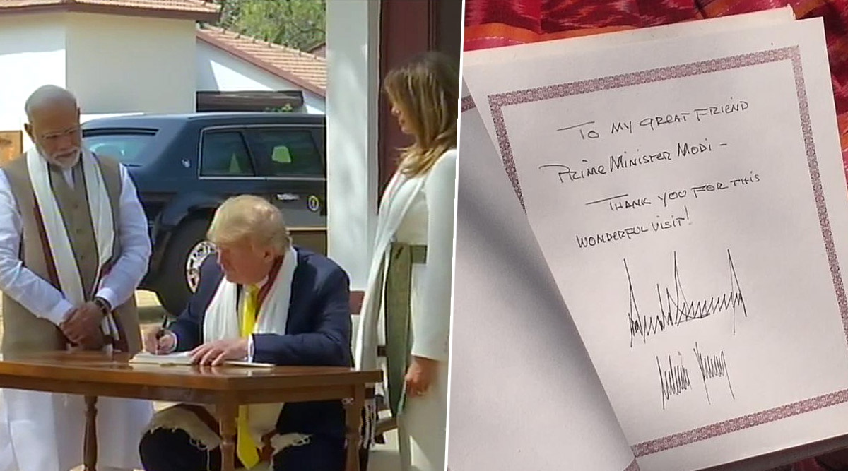Namaste Trump: राष्ट्रपति डोनाल्ड ट्रंप ने विजिटर बुक में लिखा, इस शानदार दौरे के लिए शुक्रिया मेरे दोस्त पीएम मोदी