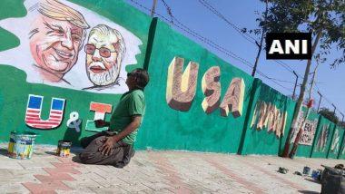 डोनाल्ड ट्रंप का भारत दौरा, स्वागत में अहमदाबाद के मोटेरा स्टेडियम की दीवारों पर पीएम मोदी और अमेरिकी राष्ट्रपति की पेंट से बनाई जा रही हैं तस्वीरें