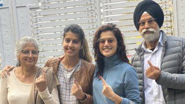 दिल्ली विधानसभा चुनाव 2020: बॉलीवुड एक्ट्रेस तापसी पन्नू ने सह परिवार किया मतदान
