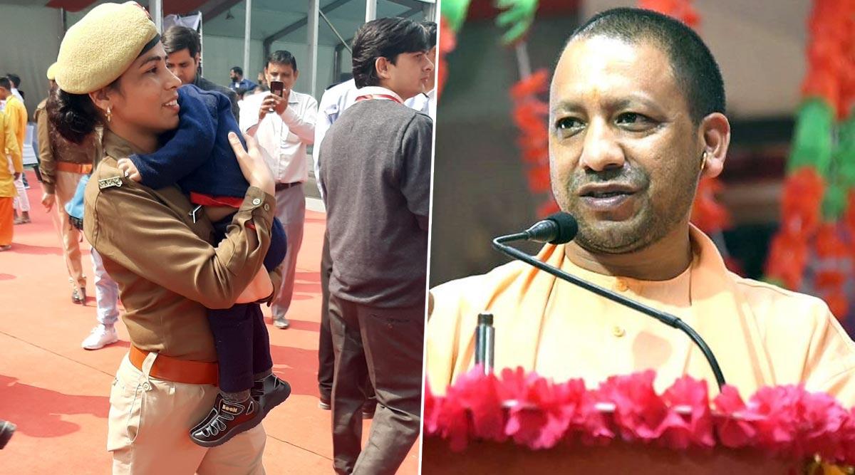 उत्तर प्रदेश: सीएम योगी आदित्यनाथ के कार्यक्रम में बेटे को गोद में लेकर पहुंची महिला कांस्टेबल, वायरल हुई फोटो
