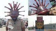 Corona Helmet: चेन्नई में कोरोना हेलमेट पहनकर पुलिस कर रही है लोगों को जागरूक, आर्टिस्ट गौतम ने किया है तैयार