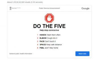 Coronavirus Prevention Tips From Google: गूगल ने बताया संक्रमण से बचने का तरीका, होमपेज पर दिखा रहा 'DO THE FIVE' एडवाइजरी