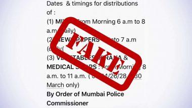 Fact Check: COVID-19 कर्फ्यू के दौरान मुंबई में जीवनावश्यक वस्तुओं की दुकाने खोलने के लिए तय किया गया टाइम? पुलिस कमिश्नर ने ट्वीट कर बताया सच