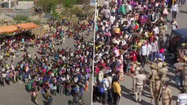Coronavirus Lockdown: लॉकडाउन का उल्लंघन, दिल्ली-उत्तर प्रदेश की सीमा के पास गाजीपुर इलाके में उमड़ी लोगों की भारी भीड़
