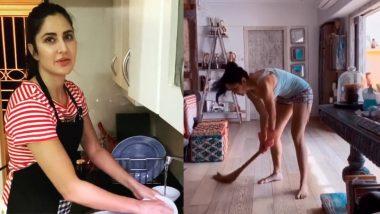 बर्तन धोने के बाद अब घर में झाडू लगाती दिखाई दी कैटरीना कैफ, अर्जुन कपूर ने की टांग खिंचाई