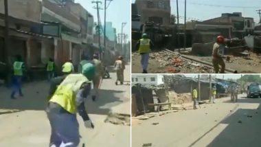 यूपी लॉकडाउन: अलीगढ़ के भुजपुरा इलाके में बाजार बंद कराने गए पुलिसवालों पर पथराव, बड़ी संख्या में फोर्स तैनात; देखें वीडियो