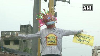 कोरोना से जंग: महाराष्ट्र के नागपुर में पुलिस ने लगाया COVID-19 थीम वाला पुतला, जिले में संक्रमण के कुल 72 मामले