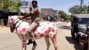 Coronavirus के खिलाफ जंग का अनोखा तरीका, COVID-19 की तरह रंगे घोड़े पर सवार होकर आंध्र प्रदेश पुलिस ने किया लोगों को जागरूक