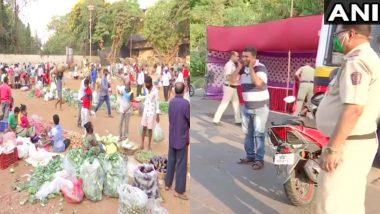 Coronavirus Lockdown: मुंबई के भायखला में सब्जी खरीदने के लिए उमड़ी भीड़, सुमन नगर में पुलिस ने लॉकडाउन का उल्लंघन करने वालों को दी ये सजा